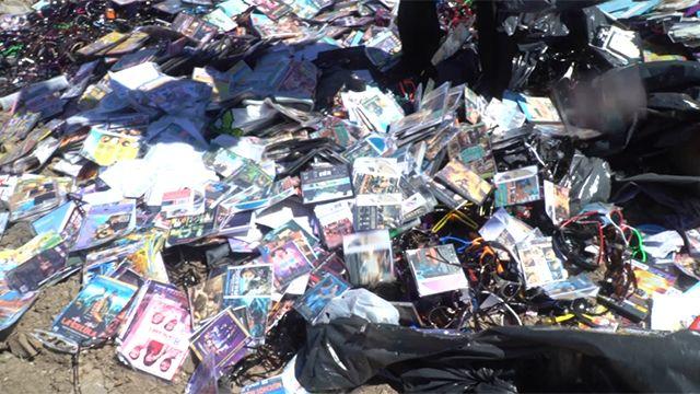Destruyen 29.000 pares de lentes y 93.000 discos que se vendían en la calle