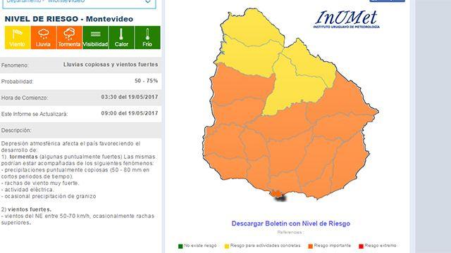 Alerta naranja para el Sur del Río Negro con lluvias, tormentas y viento