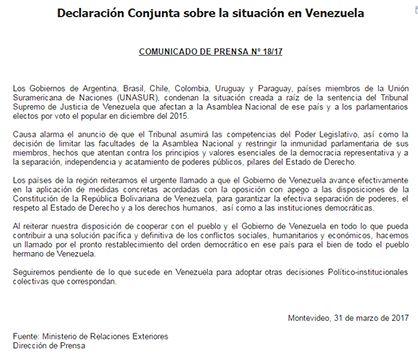 Uruguay condenó situación en Venezuela y pide restablecer orden democrático