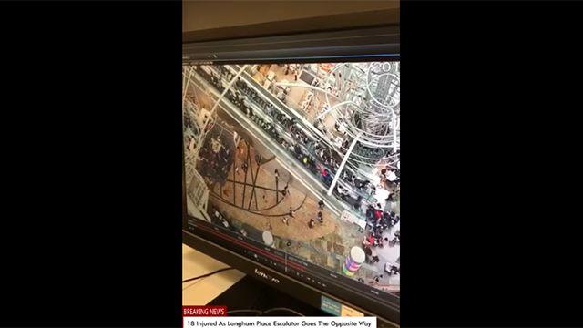 Escalera mecánica en reversa dejó 18 heridos en un shopping de Hong Kong