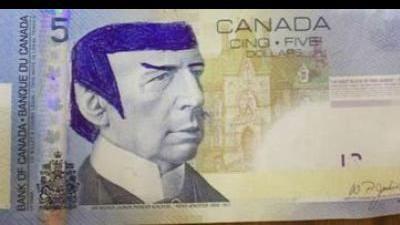 Banco de Canadá pide dejar de dibujar al Sr. Spock en billetes de 5 dólares