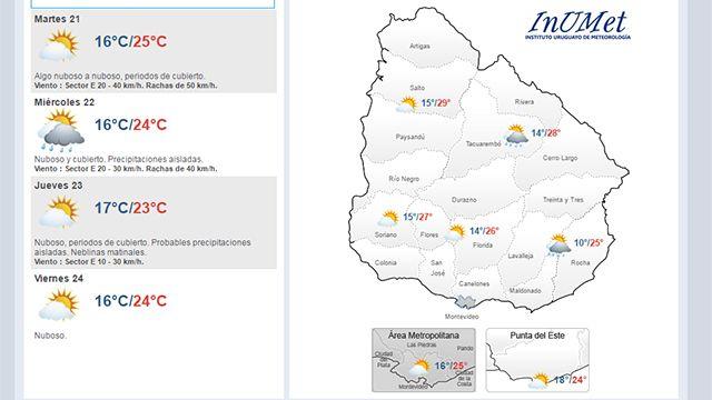 Martes con temperatura máxima de 25°; probables precipitaciones desde mañana