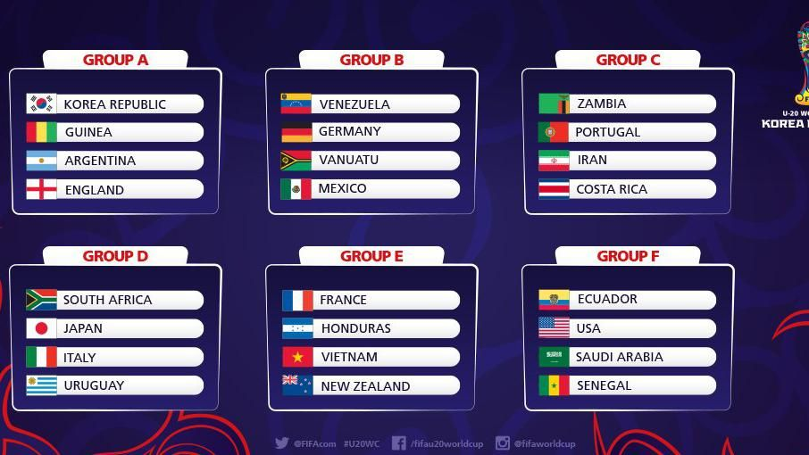 Mundial Sub-20 de Corea: Celestes jugarán ante Sudáfrica, Japón e Italia