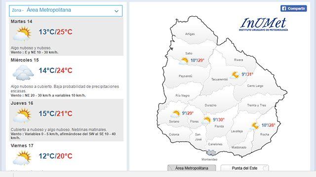 El tiempo en Uruguay: mañana probables lluvias y baja de temperatura