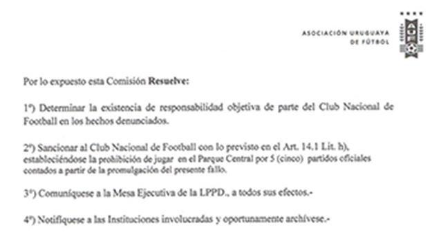 Nacional-River se juega y sancionan el Parque Central por cinco partidos