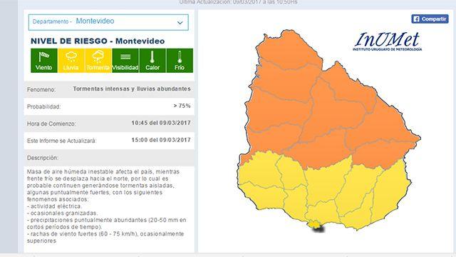 Cambia el alerta: naranja para el Norte del Río Negro y amarillo para el Sur
