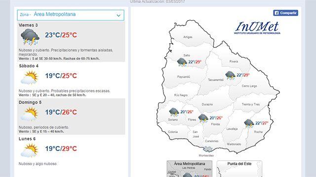 Alerta amarilla de Meteorología para todo el país