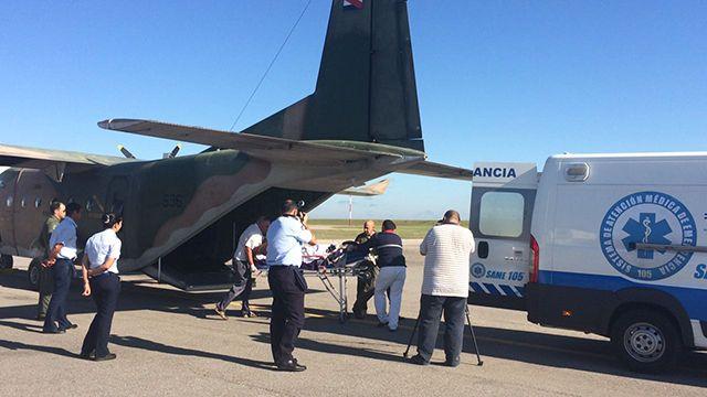Fuerza Aérea trasladó de urgencia a un hombre con el 58% del cuerpo quemado