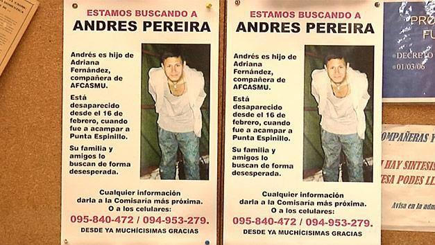 Andrés Pereira desapareció de un campamento sin dejar rastros hace 3 años