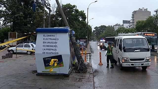 Camión recolector embistió y tiró columna frente al Hospital de Clínicas