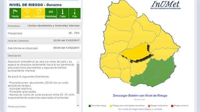 Lluvias intensas hoy y mañana en Uruguay; primeros evacuados en Paysandú