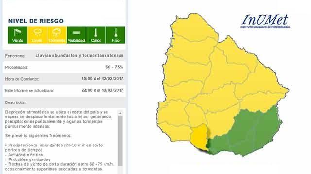 Llamado de atención de nivel amarillo por tormentas intensas