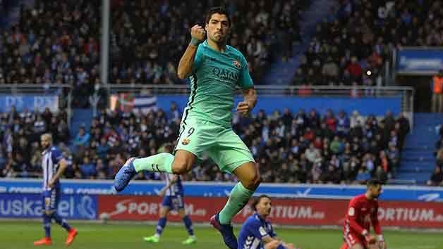 Con dos goles de Suárez, Barcelona goleó 6-0 al Alavés por la Liga