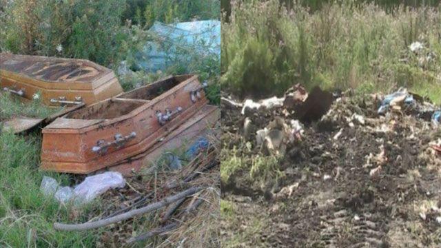 Un vecino encontró varios ataúdes tirados en un basurero en Ismael Cortinas