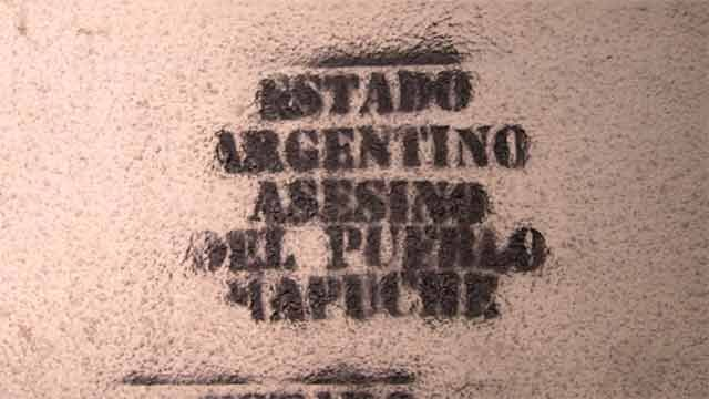 Pintadas y disturbios en movilización uruguaya por los presos mapuches