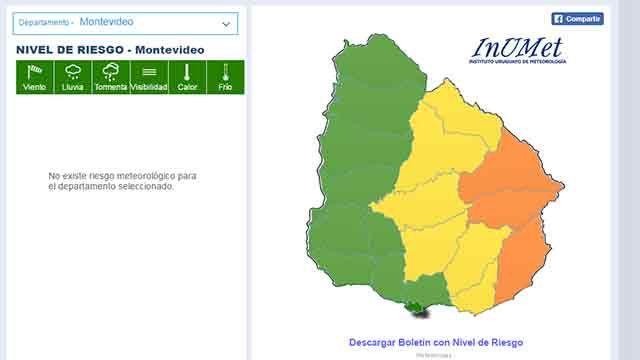 Alerta naranja en la zona Este del país con probables tormentas y lluvias