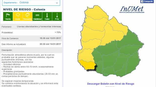 Nueva alerta amarilla por lluvias abundantes y tormentas intensas