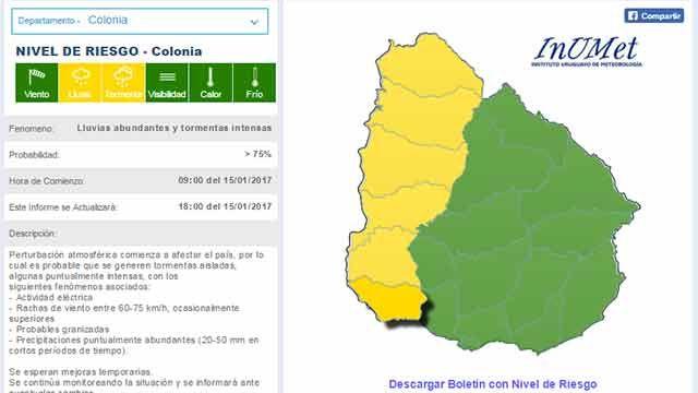 Alerta amarilla por lluvias abundantes para el litoral y oeste del país