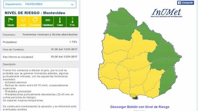 Alerta amarilla por tormentas intensas y lluvias para 13 departamentos