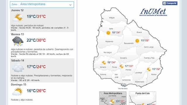 Jueves con máxima de 31ºC; mañana desmejora