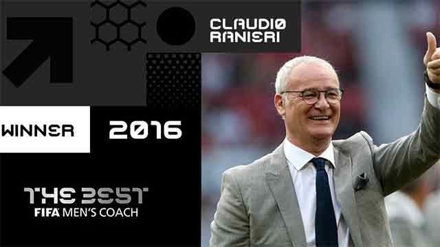 Ranieri ganó el premio al Mejor Entrenador del Mundo 2016