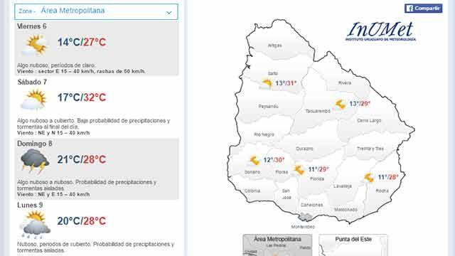 Viernes con máxima de 27ºC en el área metropolitana