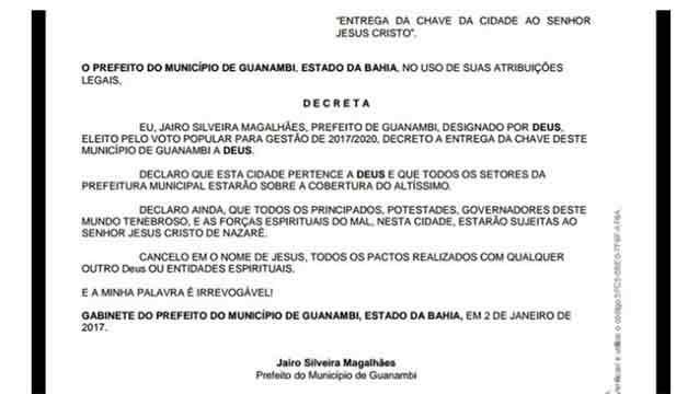 """Alcalde brasileño le entregó las llaves de la ciudad """"a Dios"""""""
