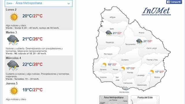 Lunes con máxima de 27ºC en el área metropolitana; mañana desmejora
