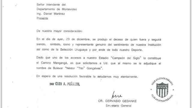 """Peñarol pide que un acceso del Campeón del Siglo se llame """"Tito"""" Goncalvez"""