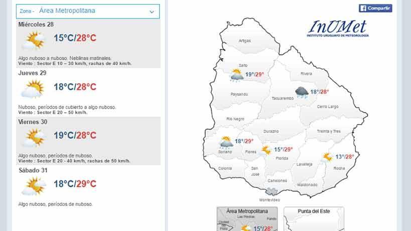 Miércoles con máxima de 28ºC en el área metropolitana