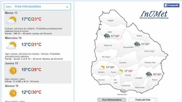 Martes con máxima de 23º en Montevideo y probables precipitaciones