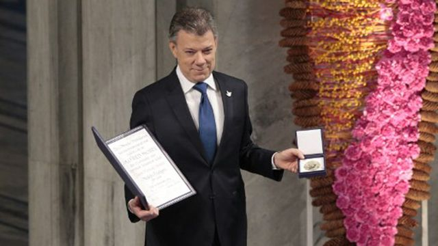 El presidente colombiano Juan Manuel Santos recibió premio Nobel de la Paz