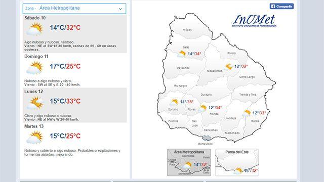 Meteorología pronostica para este sábado temperaturas entre 12ºC y 35 ºC