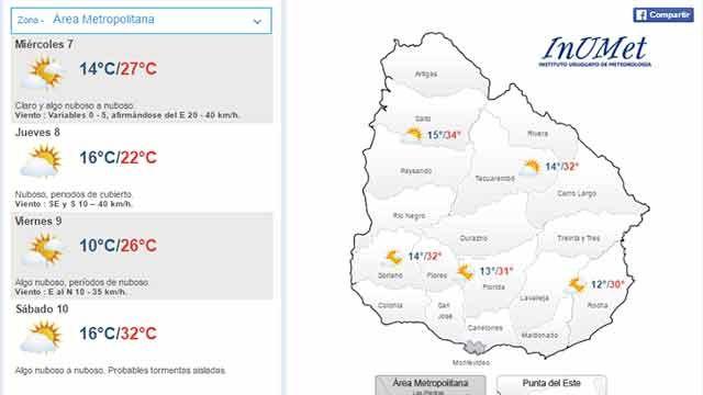 Miércoles caluroso con máxima de 27ºC para el área metropolitana