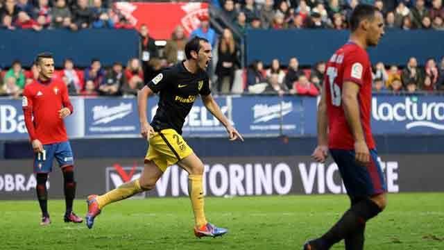 Mirá el cabezazo de Godín para la victoria 3-0 del Atlético ante Osasuna