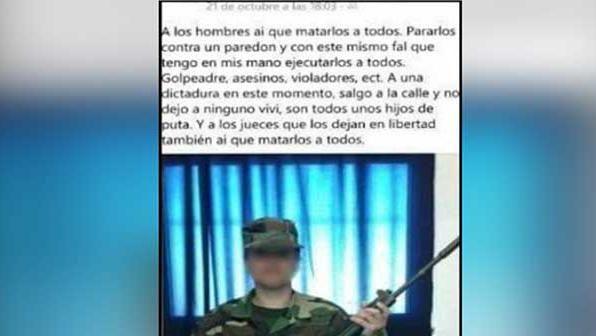 Expareja de la mujer soldado a la justicia por amenazas en Facebook
