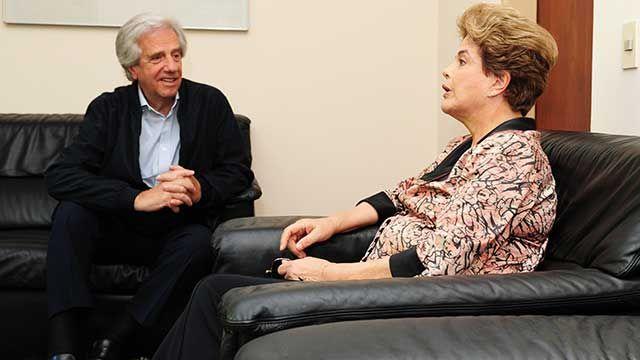 Tabaré Vázquez recibió a Dilma Rousseff en la Residencia de Suárez
