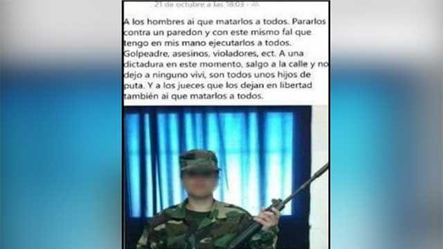 Una soldado detenida por posteo en Facebook: a hombres hay que matarlos
