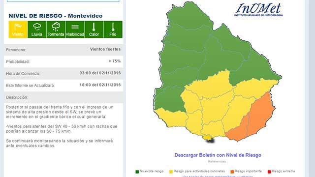 Cambió alerta para Uruguay; naranja al Este y amarillo en resto de Zona Sur