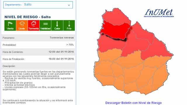 Meteorología emitió advertencia roja para el norte del país