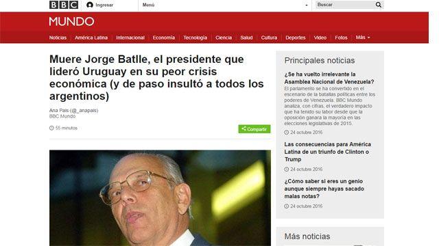 Los medios del mundo se hacen eco de la muerte del expresidente Batlle