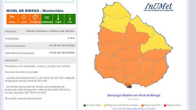 Alerta meteorológico en todo el país hasta la hora 15