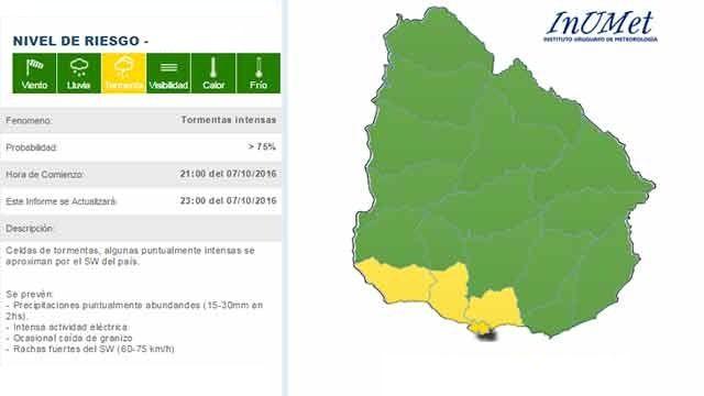 Advertencia meteorológica de nivel amarillo para cuatro departamentos