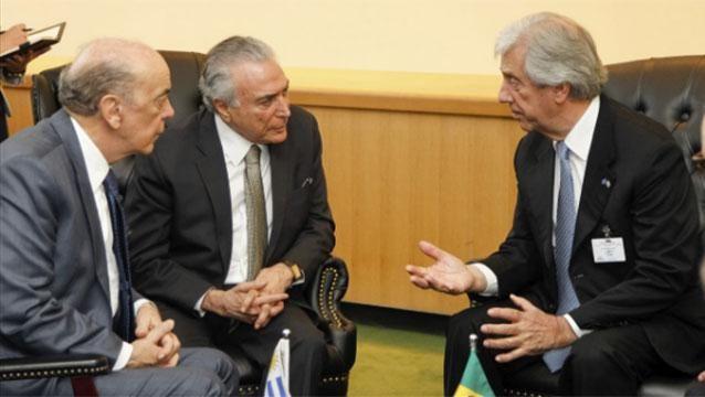 Vázquez se reunió con Temer en Nueva York para hablar del Mercosur
