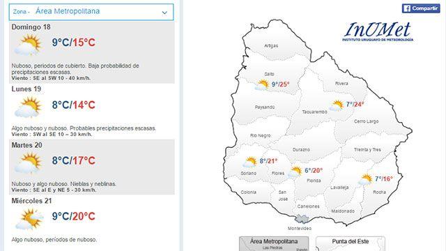 Domingo cubierto con probables precipitaciones escasas