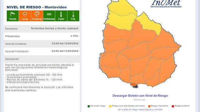 Alerta naranja complica a partir de la tarde: serán tres días de mal tiempo
