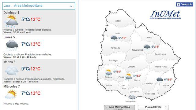 Domingo nuboso y lluvias; el lunes empeora