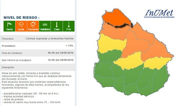 Advertencia meteorológica de nivel naranja para el norte del país