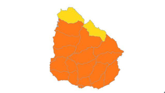 Alerta naranja para casi todo el país por mucha lluvia y tormentas fuertes