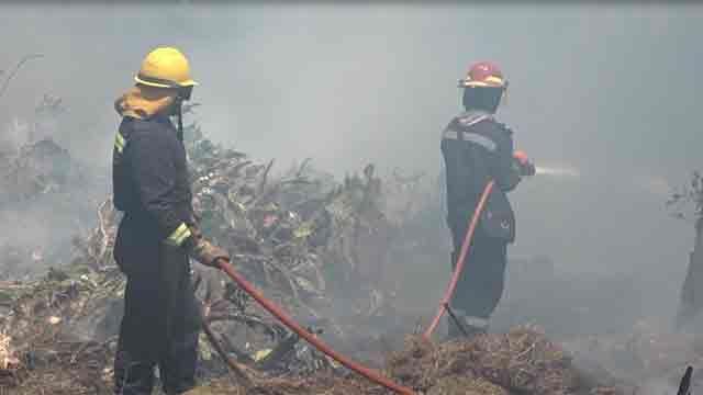 Incendio intencional de caños de saneamiento en Solymar